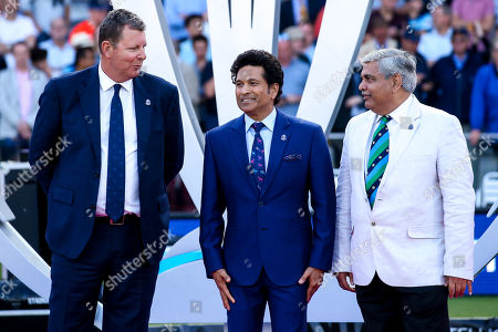 Former Indian Cricketer Sachin Tendulkar makes up the presentation team for the World Cup Final