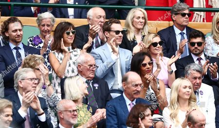 Tom Hiddleston, Benedict Cumberbatch and Sophie Hunter, Katherine Jenkins and Andrew Levitas in the Royal Box on Centre Court