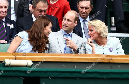 Stock Photo of Prince William, Catherine Duchess of Cambridge and Gill Brook in the Royal Box on Centre Court