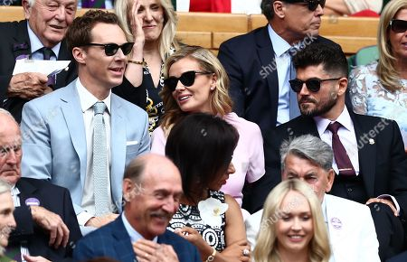 Benedict Cumberbatch, Katherine Jenkins and Andrew Levitas in the Royal Box on Centre Court
