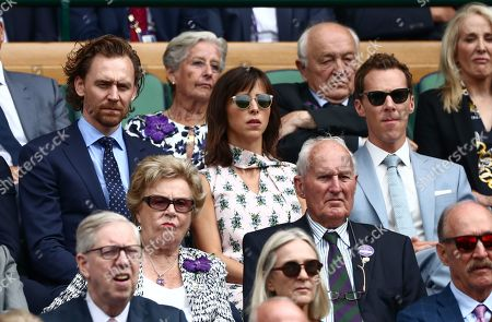 Tom Hiddleston, Benedict Cumberbatch and Sophie Hunter in the Royal Box on Centre Court