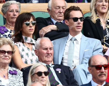 Benedict Cumberbatch and Sophie Hunter in the Royal Box on Centre Court