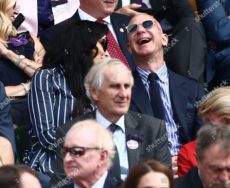 Stock Image of Jeff Bezos and Lauren Sanchez in the Royal Box on Centre Court