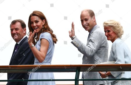 Catherine Duchess of Cambridge and Prince William arriving with Phillip Brook, AELTC Chairman and Gill Brook