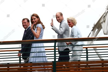 Stock Picture of Catherine Duchess of Cambridge and Prince William arriving with Phillip Brook, AELTC Chairman and Gill Brook