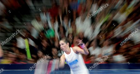 Spanish paddle tennis players Marta Ortega (C) and Marta Marrero (unseen) face Alejandra Salazar and Ariana Sanchez during the Valencia Open 2019 tournament's final game at Fuente San Luis pavilion, in Valencia, eastern Spain, 14 July 2019.