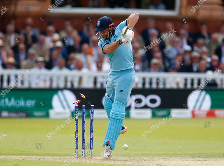 Jonny Bairstow of England gets bowled out by Lockie Ferguson (unseen) of New Zealand during the 2019 Cricket World Cup final between New Zealand and England at Lord's Cricket Ground in London, Britain, 14 July 2019.