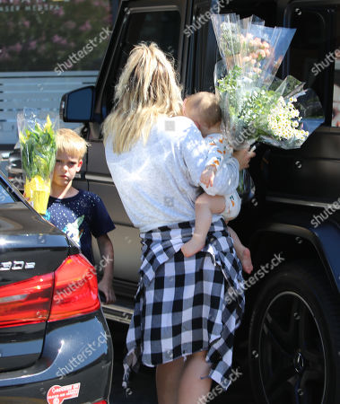 Hilary Duff with Banks Violet Bair, Luca Cruz Comrie