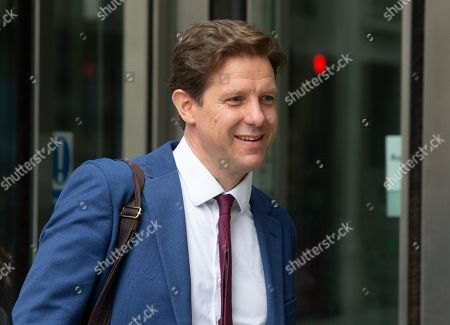 Editor of The Spectator, Fraser Nelson, leaves the BBC Studios after appearing on 'The Andrew Marr Television Show'.