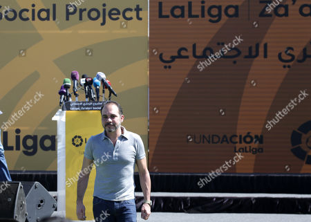 Jordan's Prince Ali Bin Al-Hussein, founder of  the AFDP (Asian Football Development Project) after his speech during a celebration of La Liga socio-educational project, at the Big Sports House Stadium, in the Zaatari refugee camp, about 100 km north of Amman, Jordan, 14 July 2019. Zaatari refugee camp is only 10 km away from the Syrian border and houses some 80000 refugees, fifty per cent of whom are under the age of 18. The Zaatari socio-educational project was developed by La Liga in collaboration with the AFDP (Asian Football Development Project), it involves some 33 clubs of the Spanish League and aims to develop various projects favorable to coexistence, integration and adaptation of the participants and their families.