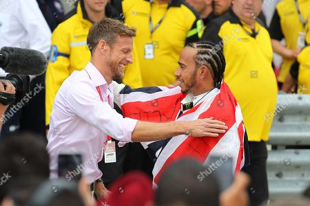 Lewis Hamilton (GBR), Mercedes shares a hug with Jenson Button after the Formula 1 Rolex British Grand Prix 2019 at Silverstone, Towcester