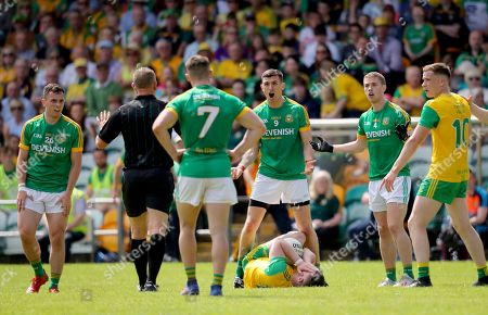 Donegal vs Meath. Shane McEntee of Meath reacts to a decision made by referee Conor Lane