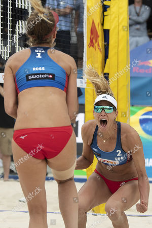 Stock Picture of April Ross, left, and Alix Klineman of the United States celebrate their win after the gold medal match at the Beachvolley Worldtour Major Series event in Gstaad, Switzerland, 14 July 2019.