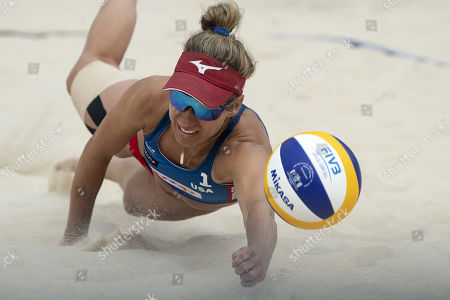 April Ross of the United States in action during the women's gold medal match at the Beachvolley Worldtour Major Series event in Gstaad, Switzerland, 14 July 2019.
