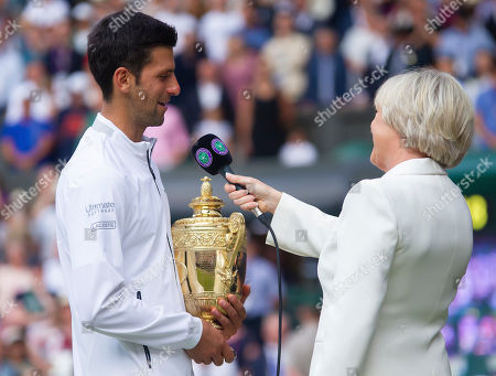 Novak Djokovic (SRB) is interviewed by sue Barker following his win in the the Gentlemens Final match against Roger Federer (SUI)