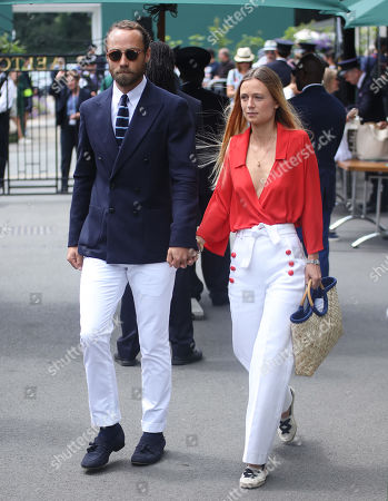 James Middleton and Girlfriend Alizee Thevenet arrive at Wimbledon on day thirteen of the Championships
