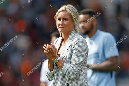 Steph Houghton Captian of the England Womens football team, and wife of Stephen Darby during the Pre-Season Friendly match between Bradford City and Liverpool at the Northern Commercials Stadium, Bradford
