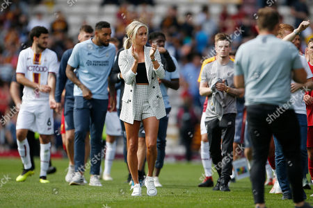 Steph Houghton Captain of the England Womens football team, and wife of Stephen Darby during the Pre-Season Friendly match between Bradford City and Liverpool at the Northern Commercials Stadium, Bradford