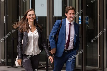 Stock Picture of New Statesman journalist Grace Blakeley (L) and The Spectator editor Fraser Nelson (R) leave the BBC Broadcasting House in central London after appearing on 'The Andrew Marr Show'.