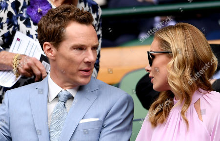 Benedict Cumberbatch (L) and wife, Sophie Hunter attend the Royal Box prior to the Men's Singles final between Novak Djokovic of Serbia and Roger Federer of Switzerland at the Wimbledon Championships at the All England Lawn Tennis Club, in London, Britain, 14 July 2019.