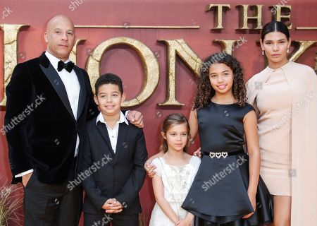 Stock Image of Vin Diesel and Paloma Jimenez with family