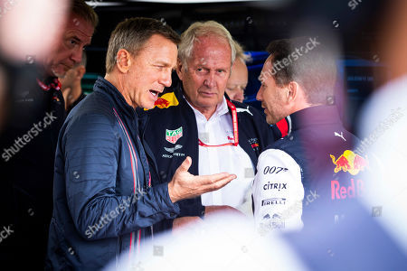 Motorsports: FIA Formula One World Championship 2019, Grand Prix of Great Britain,  Daniel Craig, Dr. Helmut Marko (AUT, Aston Martin Red Bull Racing), Christian Horner (GBR, Aston Martin Red Bull Racing),
