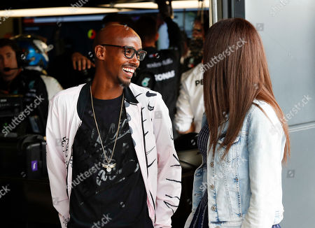 """Motorsports: FIA Formula One World Championship 2019, Grand Prix of Great Britain,  Sir Mohamed """"Mo"""" Farah and Tania Nell"""