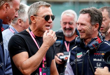 Motorsports: FIA Formula One World Championship 2019, Grand Prix of Great Britain,  Daniel Craig, Christian Horner (GBR, Aston Martin Red Bull Racing),