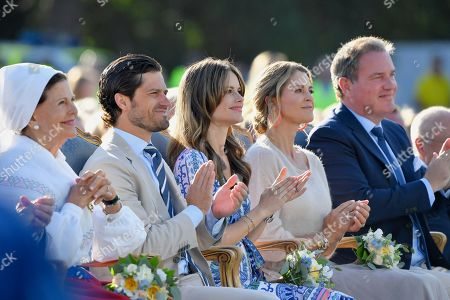 Queen Silvia, Prince Carl Philip, Princess Sofia of Sweden, Princess Madeleine and Chris O'Neill attend Crown Princess Victoria's 42nd birthday celebration.