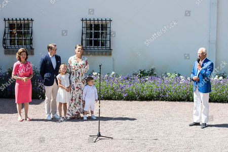 Queen Silvia, Prince Daniel, Princess Estelle, Crown Princess Victoria, Prince Oscar and King Carl Gustaf