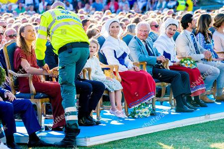 Stock Photo of King Carl Gustaf, Queen Silvia, Crown Princess Victoria, Prince Daniel, Princess Estelle, Prince Carl Philip, Princess Sofia of Sweden, Princess Madeleine and Chris O'Neill at the Borgholm Sports Arena