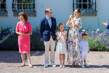 Queen Silvia, Crown Princess Victoria, Prince Daniel, Princess Estelle and Prince Oscar during the festivities