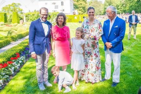 King Carl Gustaf, Queen Silvia, Crown Princess Victoria, Prince Daniel, Princess Estelle and Prince Oscar during the festivities