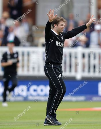 New Zealand's Lockie Ferguson celebrates taking the wicket for England's Jos Buttler for 59 runs during the Cricket World Cup final match between England and New Zealand at Lord's cricket ground in London