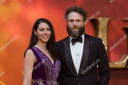 Seth Rogen (R) and US actress Lauren Miller pose on the red carpet at the European premiere of 'The Lion King' in Leicester Square in London, Britain, 14 July 2019. The film will be released in UK theaters on 19 July 2019.