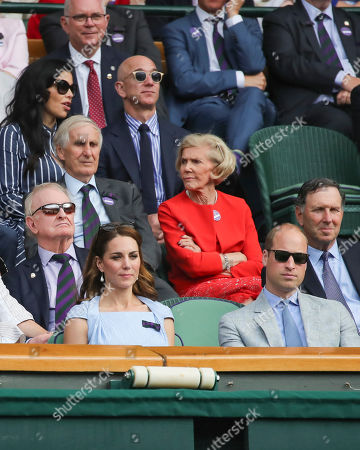 Prince William and Catherine Duchess of Cambridge, Rod Laver, Jeff Bezos and Lauren Sanchez in the Royal Box