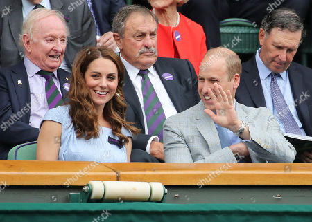 Stock Photo of Rod Laver, John Newcombe, Catherine Duchess of Cambridge and Prince William in the Royal Box