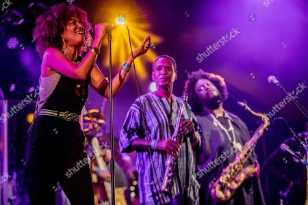 Singer and actress Patrice Quinn (L) with US saxophonist Kamasi Washington perform on stage during the last day of the North Sea Jazz festival in Ahoy, Rotterdam, The Netherlands, 14 July 2019. The music festival runs from 12 to 14 July.