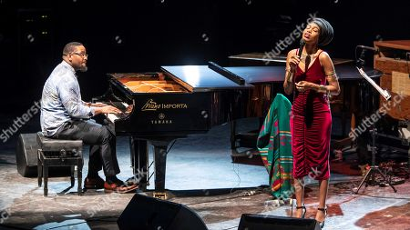 US singer Jazzmeia Horn (R) and pianist Keith Brown perform on stage during their concert at the XXII edition of the International Jazz Festival of San Javier, at the Parque Almansa Auditorium in Murcia, Spain, 14 July 2019.