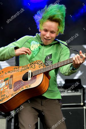 """Stock Image of Cole Becker of the """"SWMRS"""" appearing on the King Tuts stage"""
