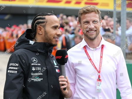 Lewis Hamilton (GBR), Mercedes interviewed by Jenson Button during the Formula 1 Rolex British Grand Prix 2019 at Silverstone, Towcester