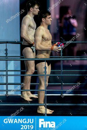 Thomas Daley (R) and Matthew Lee of Great Britain compete in the Men's 10m Synchro Platform Diving Final at the Gwangju 2019 Fina World Championships, Gwangju, South Korea, 15 July 2019.