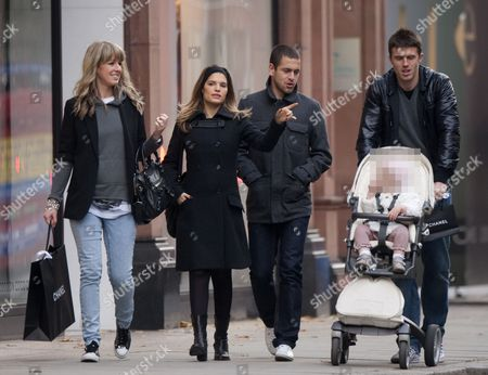 Michael Carrick with wife Lisa Roughead and Joe Cole with wife Carly Zucker