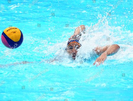 Stock Picture of Roger Tahull I Compte of Spain (L) in action  against  Don Stewart (R) of South Africa  during their men's water polo preliminary round match at the FINA Swimming World Championships 2019 in Gwangju, South Korea, 15 July 2019.