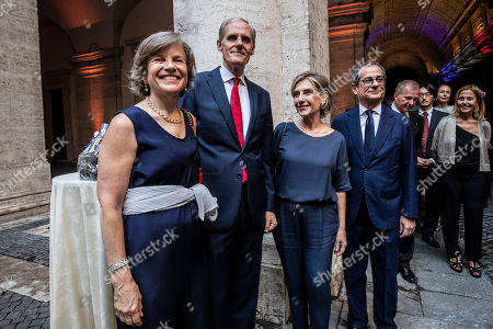 French Ambassador in Italy Christian Masset, Italian Minister of Finance Giovanni Tria (R) and wife Maria Stella Vicini