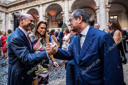 American Ambassador in Italy Lewis M. Eisenmberg, Italian Minister of Finance Giovanni Tria (R)