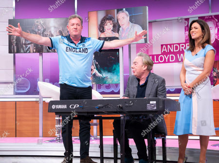 Stock Image of Piers Morgan and Susanna Reid with Sir Andrew Lloyd Webber