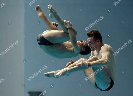 Britain's Thomas Daley and Matthew Lee compete in the men's 10m platform synchro diving final at the World Swimming Championships in Gwangju, South Korea