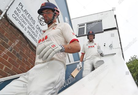 Stock Photo of Sir Alastair Cook and Matt Quinn of Essex descend the players stairs ready to take the field during Essex CCC vs Warwickshire CCC, Specsavers County Championship Division 1 Cricket at The Cloudfm County Ground on 15th July 2019