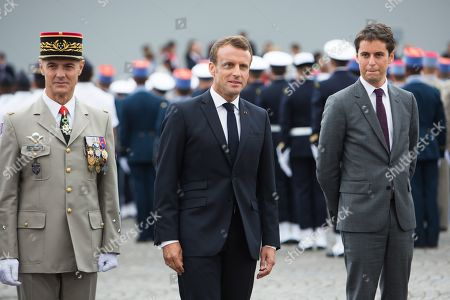 French president Emmanuel Macron and Minister of State, attached to the Minister of National Education and Youth Gabriel Attal